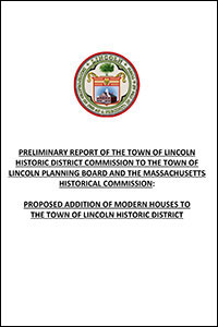 Cover from Modern House Additions to HDC Preliminary Report to MHC Lincoln Planning Board re Proposed Addition of Modern Houses to Historic District 200 x 300 sm