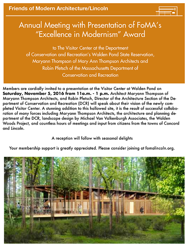 Excellence in Modernism Award Visitor Center Walden Pond 600 x 800